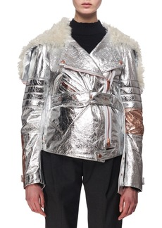 Proenza Schouler Metallic Leather & Shearling Moto Jacket