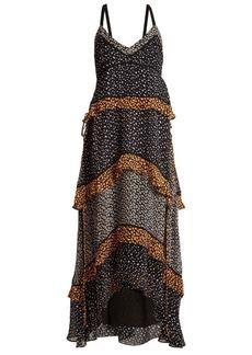 Proenza Schouler Mini leopard-print sleeveless silk-crepe gown