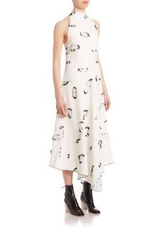 Proenza Schouler Mockneck Sleeveless Printed Dress