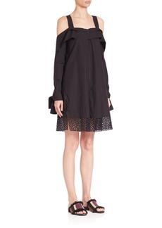 Proenza Schouler Cold Shoulder Poplin Dress