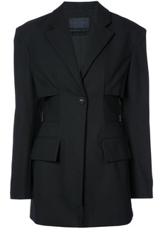 Proenza Schouler Single Breasted One Button Jacket - Black
