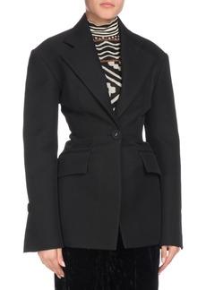 Proenza Schouler One-Button Notched-Lapel Long-Sleeve Wool-Blend Jacket