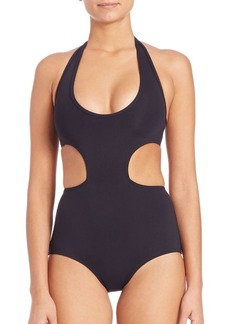 Proenza Schouler One-Piece Cutout Halter Swimsuit
