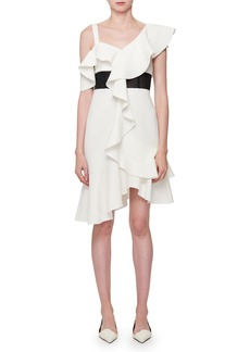 Proenza Schouler One-Shoulder Inset-Waist Ruffle Dress