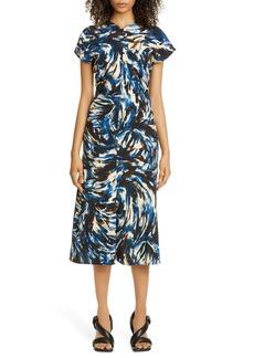 Proenza Schouler Paint Print Cady Midi Dress