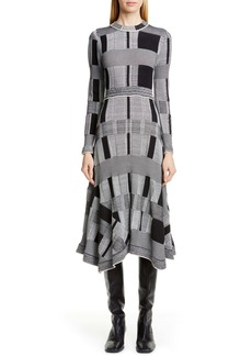Proenza Schouler Plaid Long Sleeve A-Line Sweater Dress