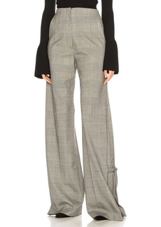 Proenza Schouler Plaid Wool Wide Leg Trousers
