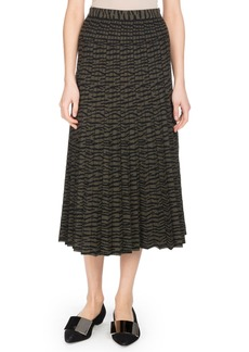 Proenza Schouler Pleated A-Line Tiger-Jacquard Midi Skirt