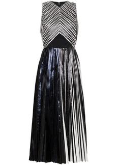 Proenza Schouler Pleated Criss Cross Foil Dress - Black