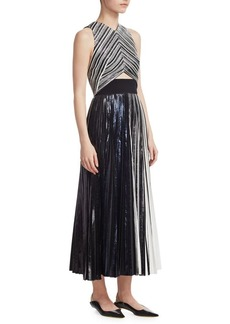 Pleated Cut-Out Dress