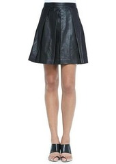 Proenza Schouler Pleated Leather A-Line Skirt