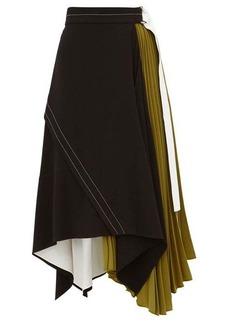 Proenza Schouler Pleated leather-trim matte-crepe skirt