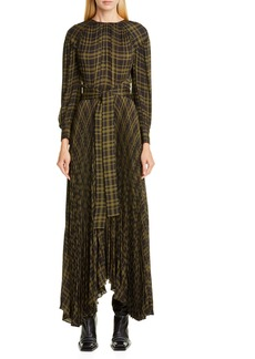 Proenza Schouler Pleated Plaid Chiffon Long Sleeve Maxi Dress
