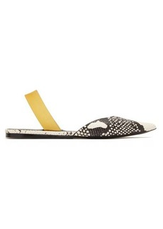 Proenza Schouler Point-toe python-effect leather slingback flats