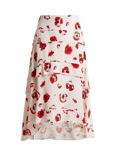 Proenza Schouler Poppy-print tiered crepe skirt