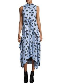 Proenza Schouler Poppy-Print Viscose Wrap-Front Midi Dress
