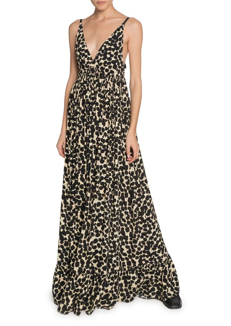 Proenza Schouler Printed Crepe de Chine Maxi Dress