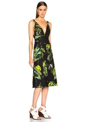 Proenza Schouler Printed Satin V Neck Long Dress with Slits