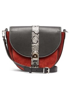 Proenza Schouler PS11 corduroy and leather medium saddle bag