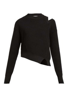Proenza Schouler PSWL Asymmetric cotton-blend knit sweater