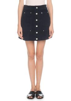 Proenza Schouler PSWL Button-Front Wide-Wale Corduroy A-Line Mini Skirt