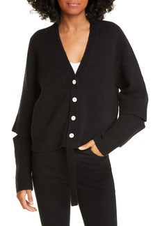 Proenza Schouler White Label Double Face Wool Blend Crop Cardigan