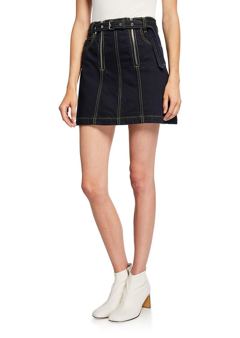 Proenza Schouler PSWL Front Zip Rigid Denim Belted Mini Skirt