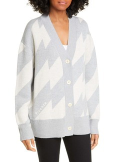 Proenza Schouler White Label Glitch Jacquard Merino Wool Blend Cardigan