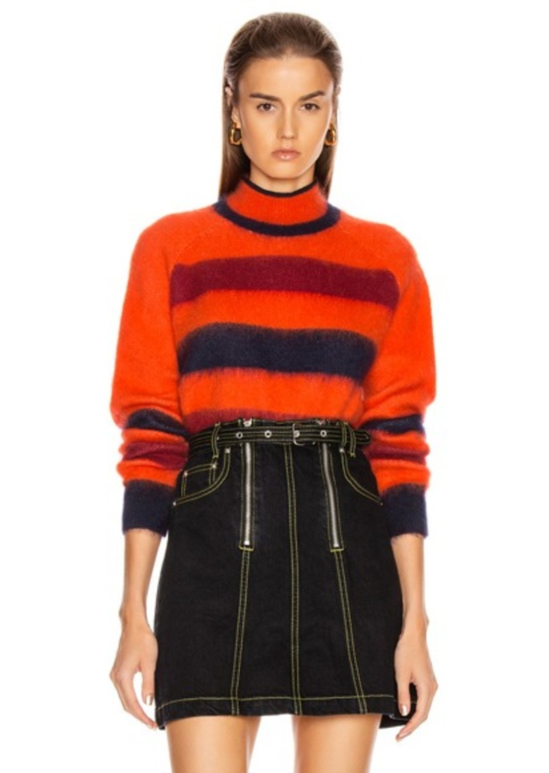 Proenza Schouler White Label Long Sleeve Cropped Stripe Sweater