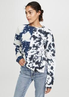 Proenza Schouler White Label Long Sleeve Cropped Tie Dye Sweatshirt