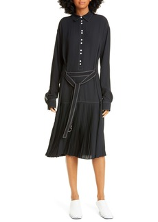 Proenza Schouler White Label Long Sleeve Drop Waist Shirtdress