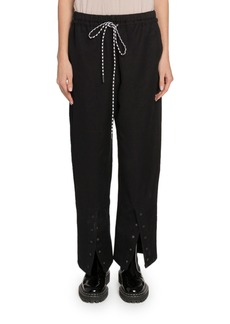 Proenza Schouler PSWL Washed Cotton Drawstring Pants with Buttons