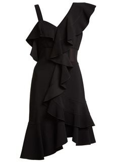Proenza Schouler Ruffle one-shoulder stretch-cady dress