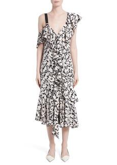 Proenza Schouler Ruffle Print Silk Midi Dress