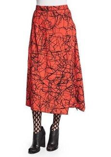 Proenza Schouler Scribble-Print Flared Skirt
