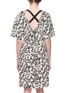 Proenza Schouler Scribble-Rose Crisscross-Back Silk Dress