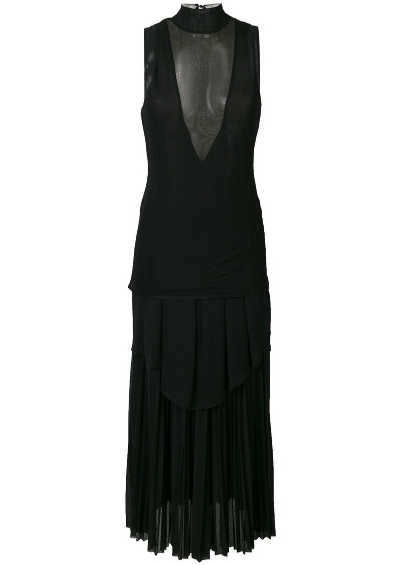 Proenza Schouler sheer panel long shift dress