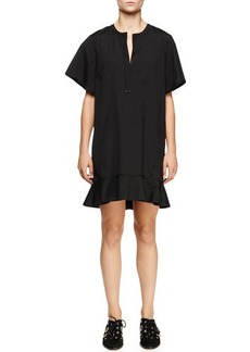 Proenza Schouler Short-Sleeve Peplum-Hem Dress