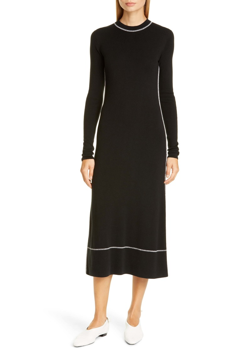 Proenza Schouler Silk Blend Long Sleeve Midi Dress