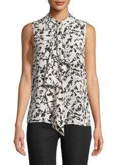 Proenza Schouler Sleeveless Button-Front Ruffled Floral-Print Silk Blouse