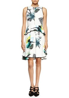 Proenza Schouler Sleeveless Ikebana-Print Peplum Dress