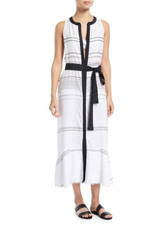 Proenza Schouler Sleeveless Long Striped Cotton-Voile Coverup Dress
