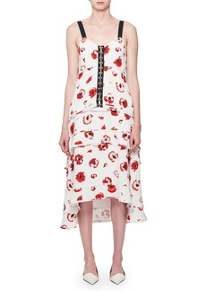 Proenza Schouler Sleeveless Poppy-Print Midi Dress