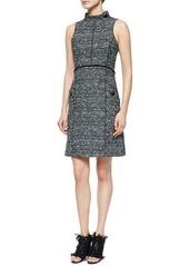 Proenza Schouler Sleeveless Stand-Collar Tweed Dress