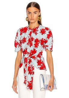 Proenza Schouler Splatter Floral Tie Top