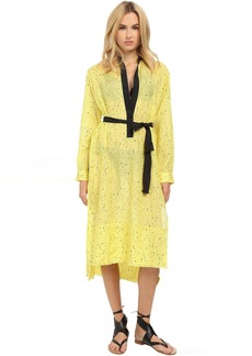 Proenza Schouler Splatter Print Fringe Shirtdress Cover-Up