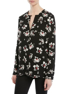 Proenza Schouler Split-Neck Long-Sleeve Floral-Print Blouse