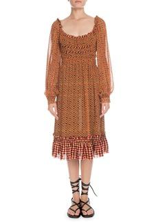 Proenza Schouler Square-Neck Long-Sleeve Printed Crepe Chiffon A-Line Midi Dress