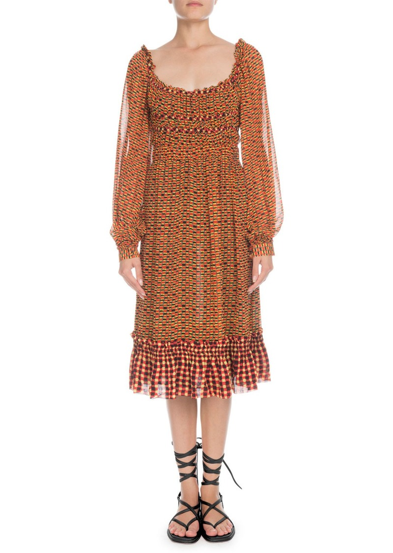 Proenza Schouler Square-Neck Long-Sleeve Printed Crepe Chiffon A-Line Midi Dress