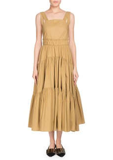 Proenza Schouler Square-Neck Sleeveless 3-Tier Long Cotton Poplin Long Dress